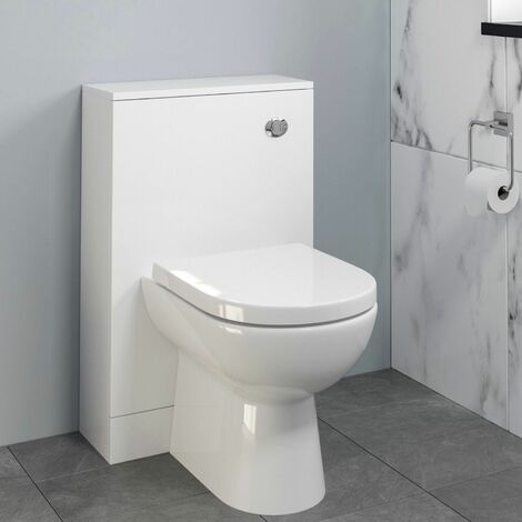 Bathroom Modern Toilet Concealed Cistern Pan Soft Close White 500mm