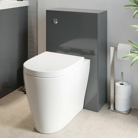 Bathroom Modern WC 500mm Toilet Unit Concealed Cistern BTW Soft Close Grey