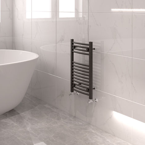 """main image of """"Bathroom Mordern Straight Curved Heated Towel Rail Radiator Central Heating Ladder Warmer Anthracite"""""""