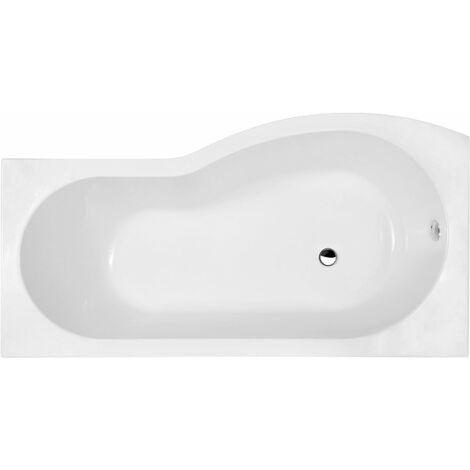 Bathroom P Shaped Left Hand Shower Bath Acrylic Gloss White Bathtub 1700 Modern