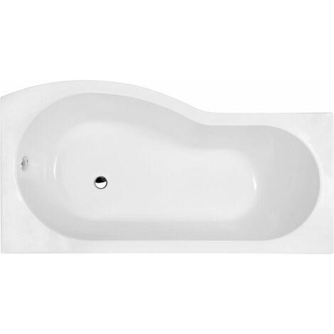 Bathroom P Shaped Right Hand Shower Bath Acrylic Gloss White Bathtub 1700 Modern