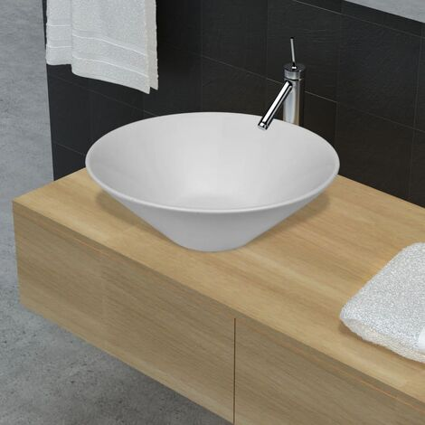 Bathroom Porcelain Ceramic Sink Art Basin Bowl White - White