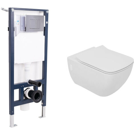 Bathroom Rimless Wall Hung WC Toilet Soft Closing Seat Cistern Mounting Frame