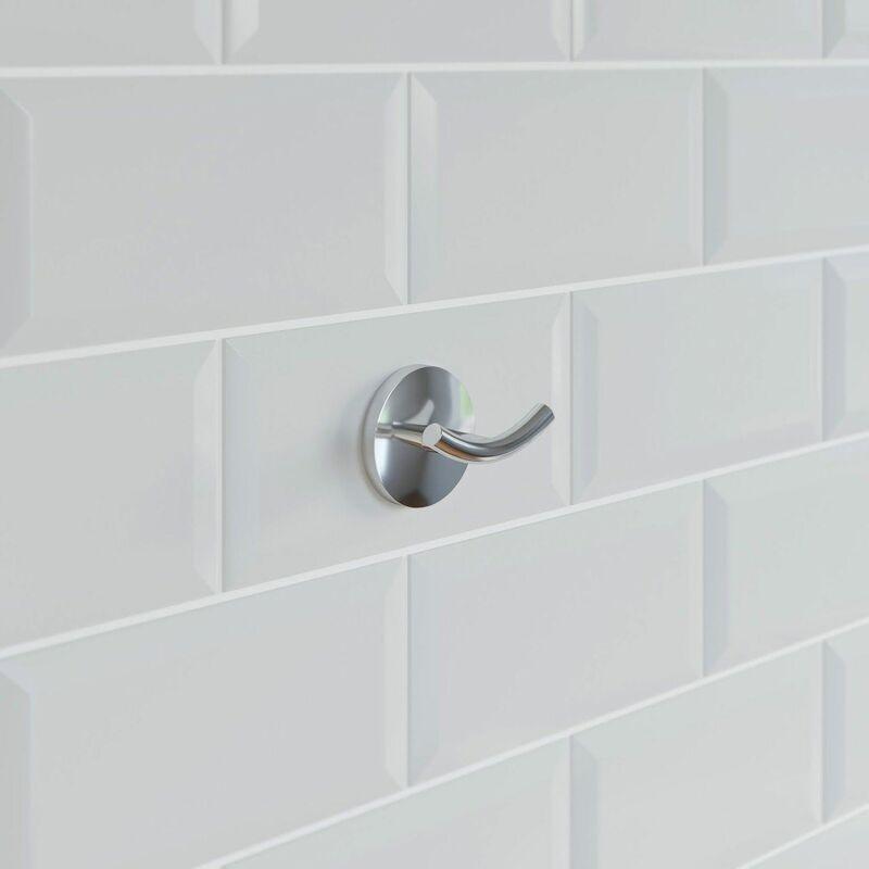 Image of Bathroom Robe Towel Hook Holder Chrome Round Wall Mounted Stylish Traditional