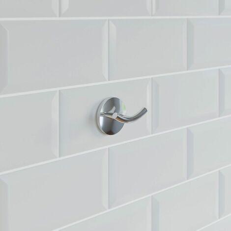Bathroom Robe Towel Hook Holder Chrome Round Wall Mounted Stylish Traditional