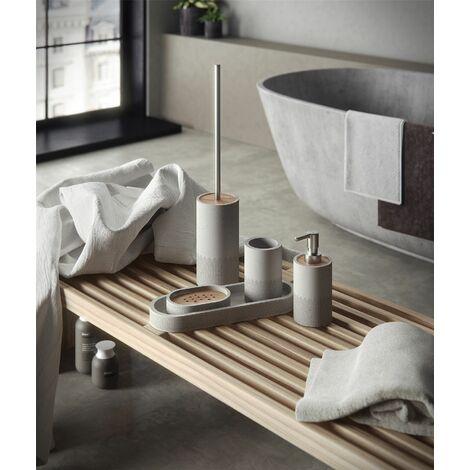 Bathroom Set 5 Piece Accessory Tray Soap Dish Dispenser Tumbler Toilet Brush