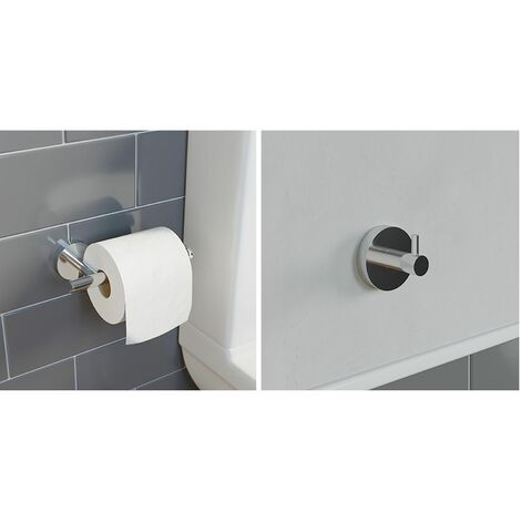 Bathroom Set Robe Hook Toilet Roll Holder Chrome Round Wall Mounted Stylish