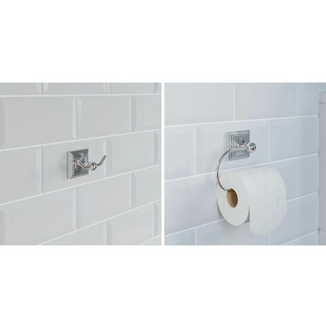 Bathroom Set Robe Hook Toilet Roll Holder Chrome Square Wall Mounted Traditional