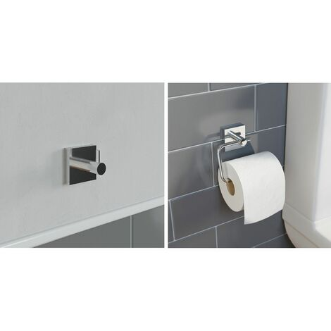 Bathroom Set Robe Hook Toilet Roll Holder Chrome Wall Mounted Stylish Modern