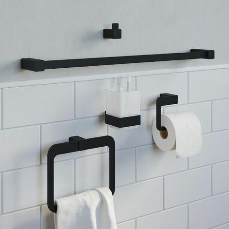 Bathroom Set Towel Ring Rail Toilet Roll Holder Robe Hook Tumbler Black Square