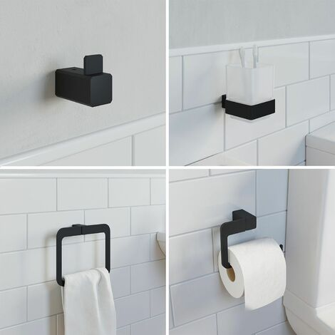 Bathroom Set Towel Ring Toilet Roll Holder Robe Hook Tumbler Black Square
