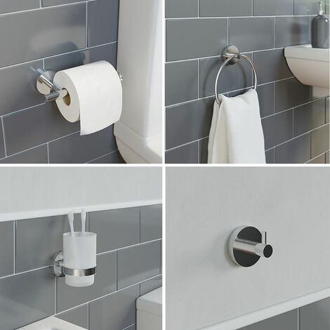 Bathroom Set Tumbler Robe Hook Towel Ring Toilet Roll Holder Chrome Wall Mounted