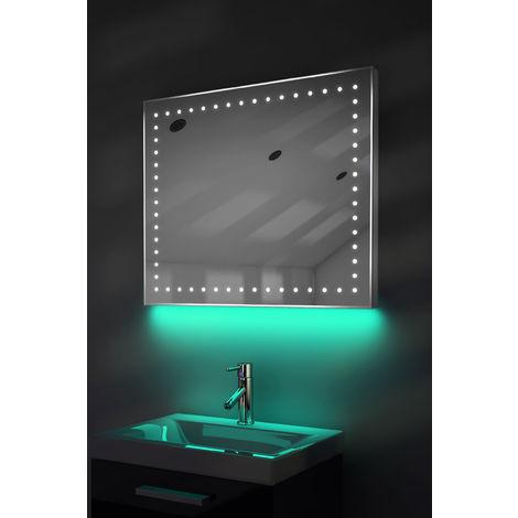 Bathroom Shaver Mirror with UnderLighting, Bluetooth, Demist & Sensor k67sTaud