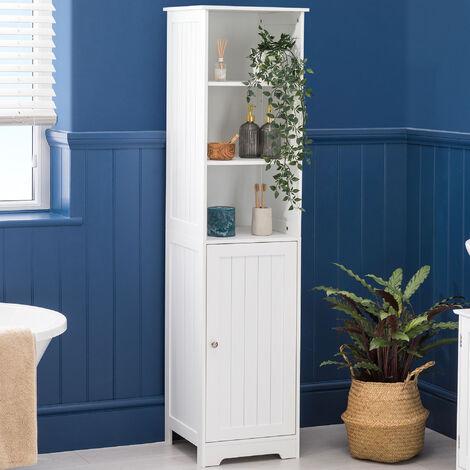 Bathroom Shelf Cabinet White Freestanding Tallboy Storage Shelving Unit Christow