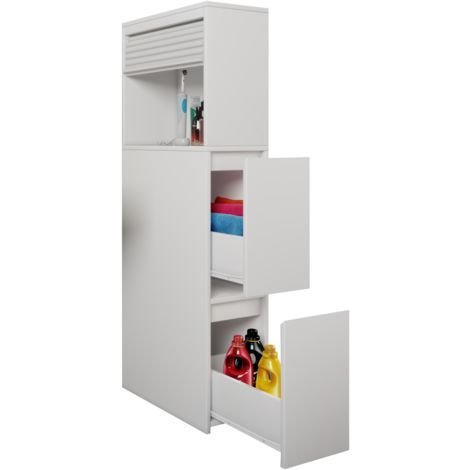 Bathroom shelf Tasalo with apothecary cabinet room divider with shutters white