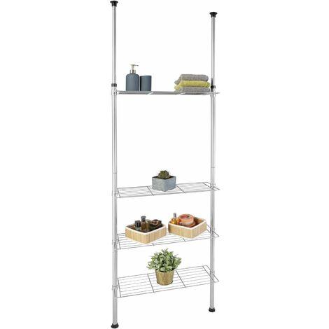 Bathroom shelf, telescopic - bathroom shelf unit, bath shelf, toilet shelf - silver - plata