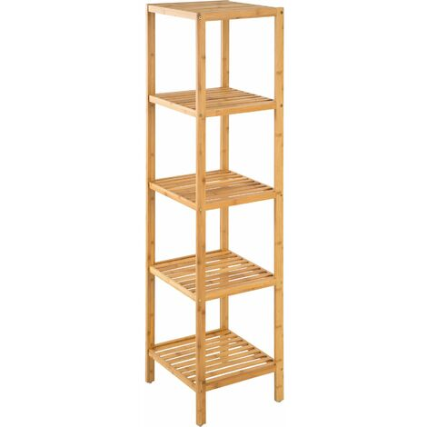 Bathroom shelf unit 33x33x147cm - bath shelf, bamboo shelf, toilet shelf - brown