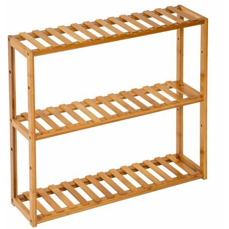 Bathroom shelf unit 60x15x54.5 cm - bath shelf, bamboo shelf, toilet shelf - brown