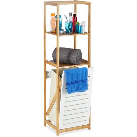Bathroom Shelf with Laundry Hamper, Bamboo Bath Rack, Narrow, Freestanding, 3 Compartments, HxWxD: 130 x 37 x 33 cm, Natural