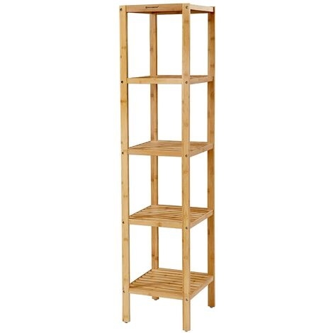 Bathroom Shelves Storage Rack organiser 5 Tier Bamboo 33 x 33 x 146 cm BCB55Y