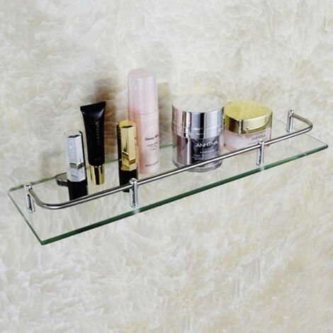 Bathroom Shower Caddy Holder Wall Mount Storage Rack Glass Cosmetic Shelf