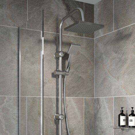 Bathroom Shower Kit Adjust Riser Rail Hose Twin Shower Heads Chrome Square Set