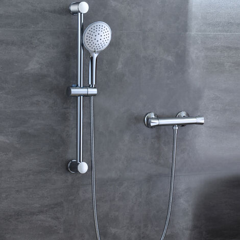Bathroom Shower Mixer Thermostatic Chrome Exposed Valve Round Set
