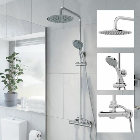 Bathroom Shower Mixer Thermostatic Set Twin Head Chrome Round Set