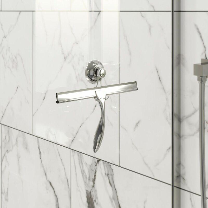 Image of Bathroom Shower Screen Squeegee Bath Glass Cleaning Blade Ergonomic Hanger