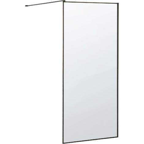 Bathroom Shower Screen Tempered Glass Doorless 100 x 190 cm Black Waspam