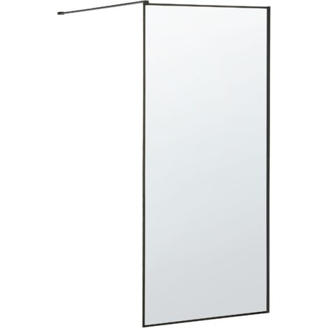 "main image of ""Bathroom Shower Screen Tempered Glass Doorless 90 x 190 cm Black Waspam"""