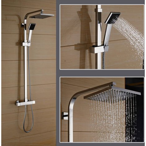 """Bathroom Shower Set Thermostatic 38ºC Mixer Shower Mixer Shower System with 8"""" Overhead Rain Shower and Handheld Shower"""