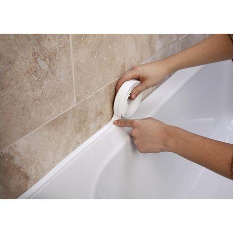 BATHROOM SHOWER SINK BATH SEALING STRIP WHITE 3.35M X 38MM