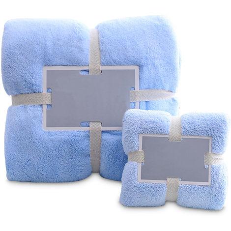 Bathroom Shower Towels Set Bath Towel Hand Towels Soft Fluffy Beach Towels Light blue