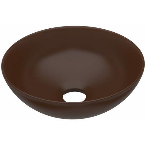 Bathroom Sink Ceramic Dark Brown Round