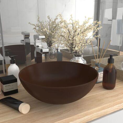 Bathroom Sink Ceramic Dark Brown Round - Brown