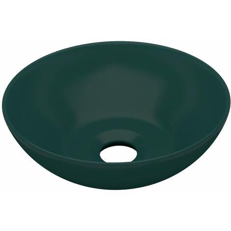 Bathroom Sink Ceramic Dark Green Round
