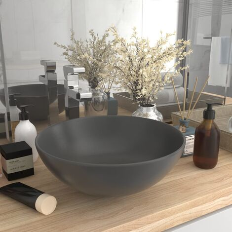 Bathroom Sink Ceramic Dark Grey Round - Grey