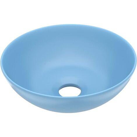 Bathroom Sink Ceramic Light Blue Round