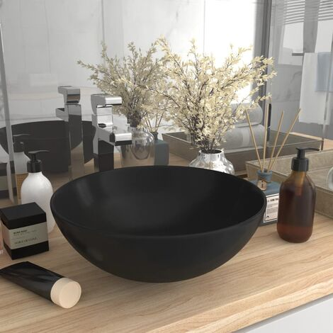 Bathroom Sink Ceramic Matt Black Round - Black