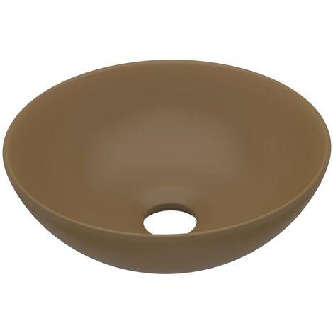 Bathroom Sink Ceramic Matt Cream Round