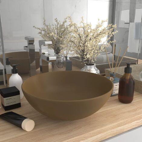 Bathroom Sink Ceramic Matt Cream Round - Cream