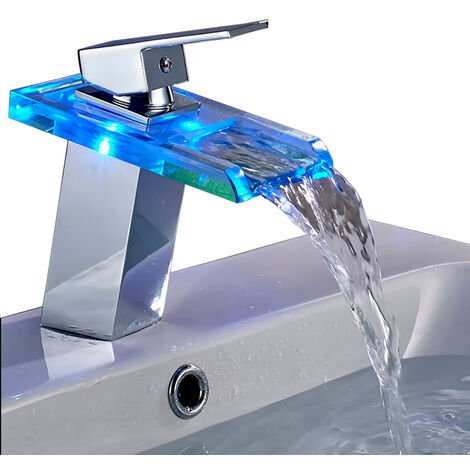 Bathroom Sink Mixer Tap Single Hole Single-Handle LED Waterfall Vessel Bathroom Faucet with 3 Changing Color Lights