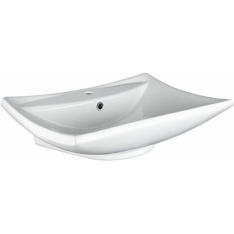 Bathroom sink rectangular flat ceramic - ceramic sink, toilet sink, bathroom basin - white