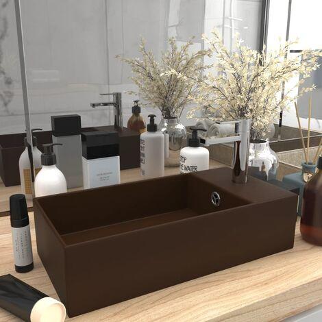 Bathroom Sink with Overflow Ceramic Dark Brown - Brown