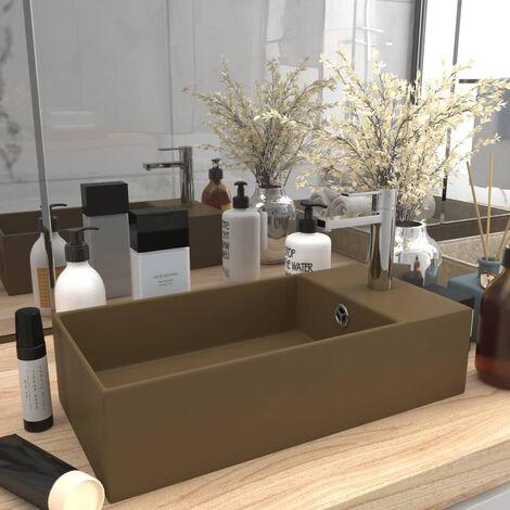 Bathroom Sink with Overflow Ceramic Matt Cream - Cream