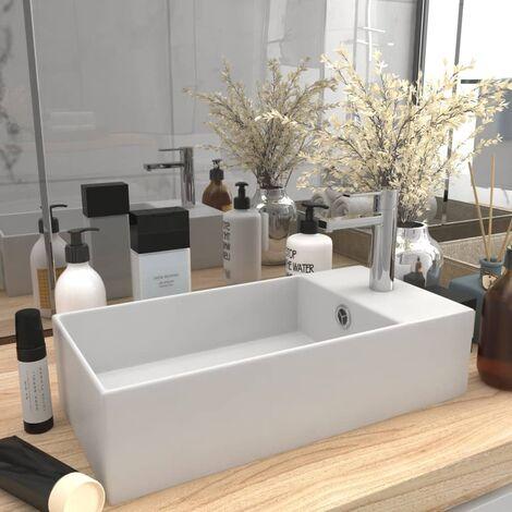 Bathroom Sink with Overflow Ceramic Matt White - White