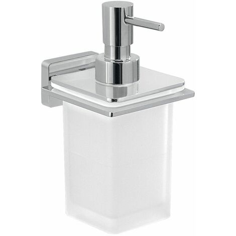 """main image of """"Bathroom Soap Dispenser Chrome Square Wall Mounted Stylish Modern Frosted Glass"""""""