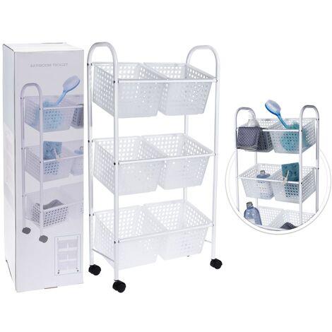 Bathroom Solutions Bathroom Trolley with 6 Baskets - White