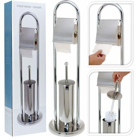 Bathroom Solutions Soporte de papel higiénico y escobilla acero inox.